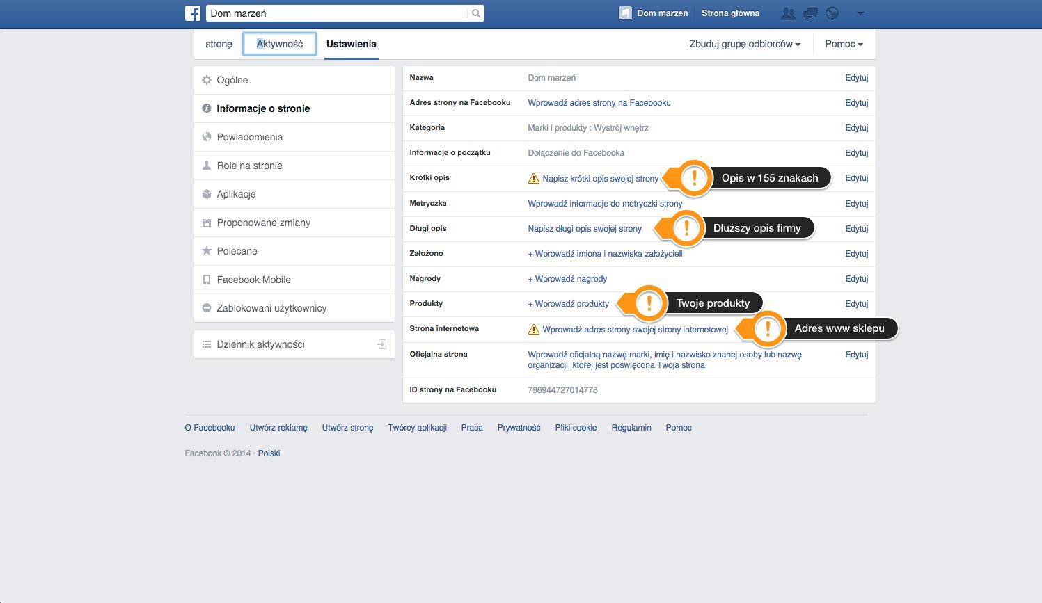 informacje w profilu na facebooku