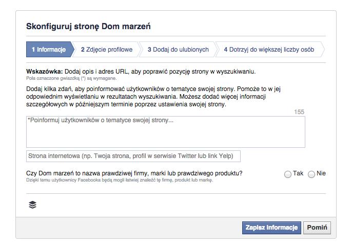 uzupełnienie informacji o założonym profilu na facebooku