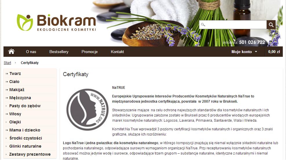 opisy certyfikatów w sklepie internetowym biokram