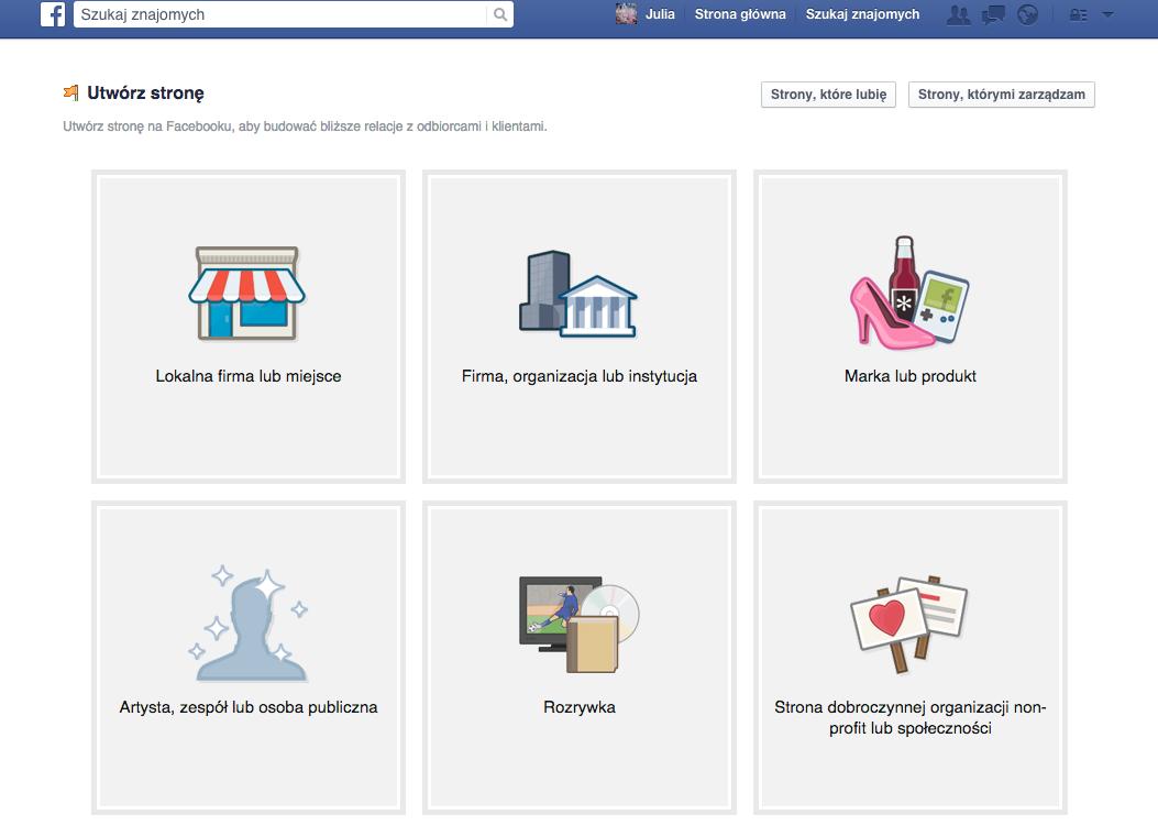 wybór kategorii i nazwy strony na facebooku