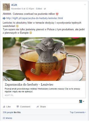 przykład zastosowania produktu w poście na facebooku