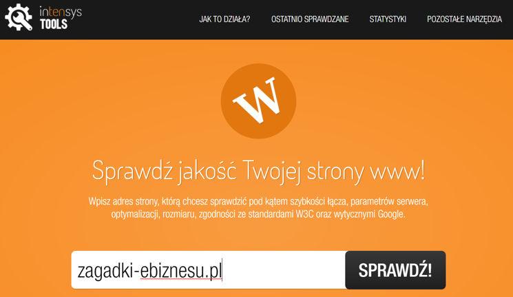 Webspeed Intensys Tool do badania szybkości witryny